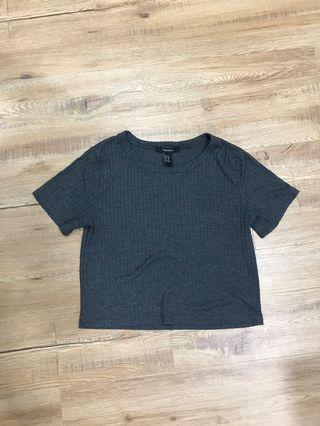 [4 for $10] F21 grey cropped tee