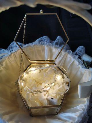 Gold geometric terrarium ring box