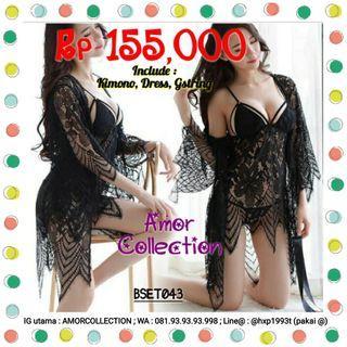 Lingerie seksi kimono set hitam luxury -BSET043- By AMORCOLLECTION