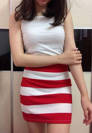 Brand new Korea stripe skirt