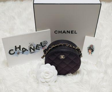 Chanel 19S Black Iridescent Grained Calfskin Classic Round Bag in LGHW
