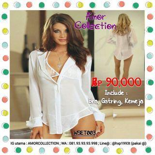 Lingerie seksi kemeja putih -WSET003- By AMORCOLLECTION