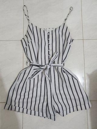 Black & white stripe playsuit - size 8