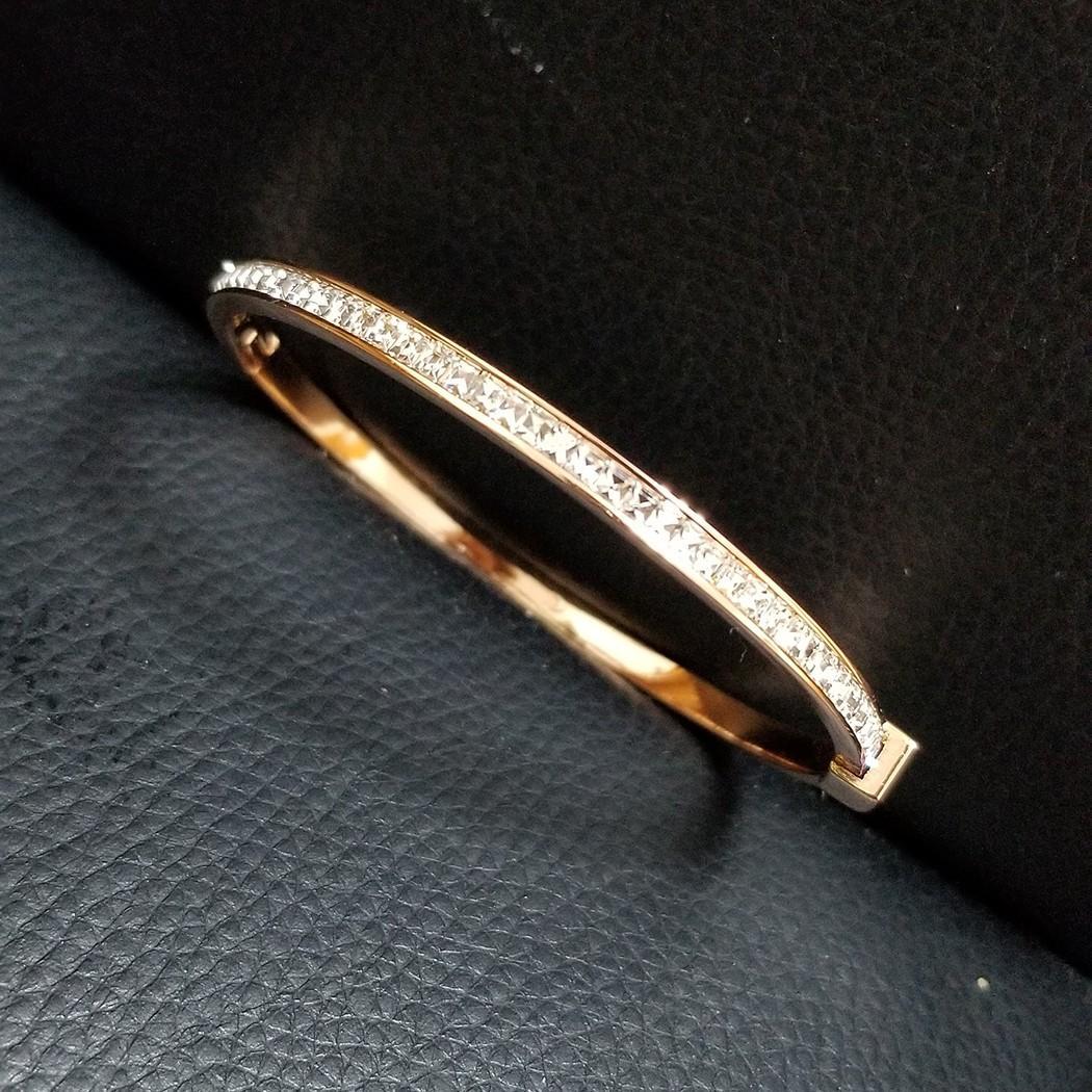 18K 玫瑰金電鍍 鑲嵌 方型切面水晶 金屬手鐲 一個 ( 包郵 ) Bg-3