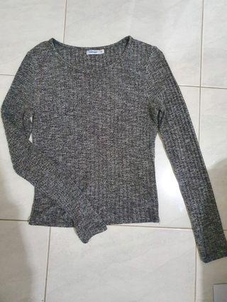 Grey ribbed knit top