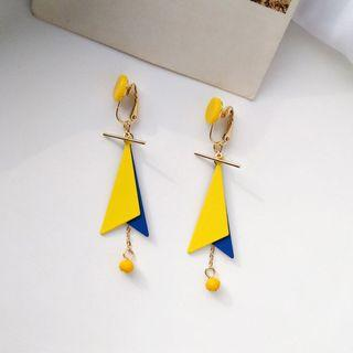 (Clip On) Eliette Geometric Earrings in Yellow/Blue