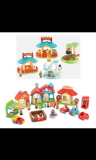 🚚 ELC happyland zoo set and town house set