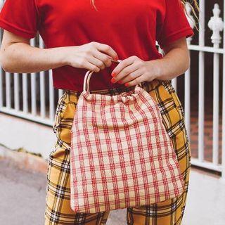 Red tartan /. check / gingham bag
