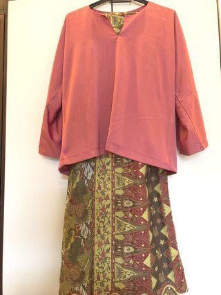Baju Kurung Kedah Set (Satin Top + Cotton Batik Skirt)