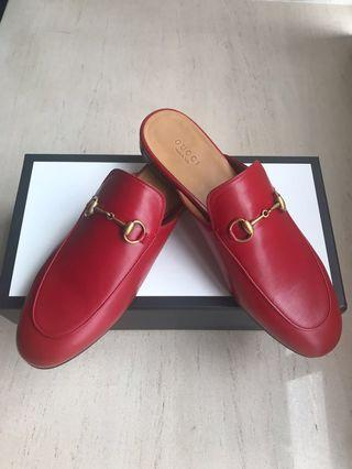 Gucci Princetown horsebit red leather silppers