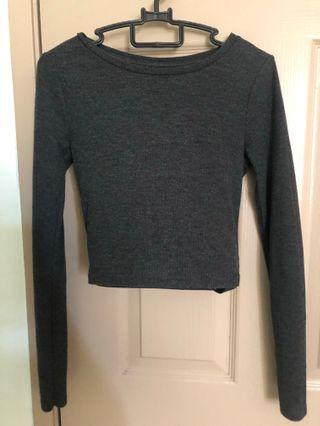 [Preloved] Topshop Crop Top (Grey)