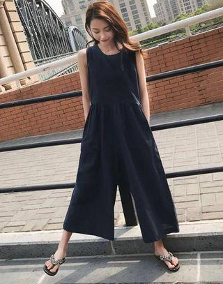 Navy Blue Jumpsuit wide leg pants (for ladies)