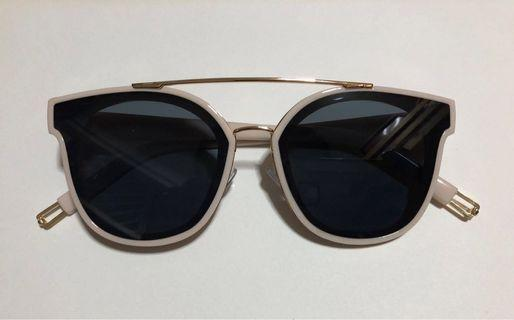 Baby Pink Sunglasses With Gold Designs