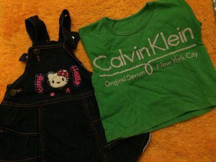 Baju anak overall+kaos