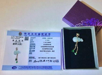 天然A貨翡翠葫蘆吊墜(附証書)+送純銀頸鍊