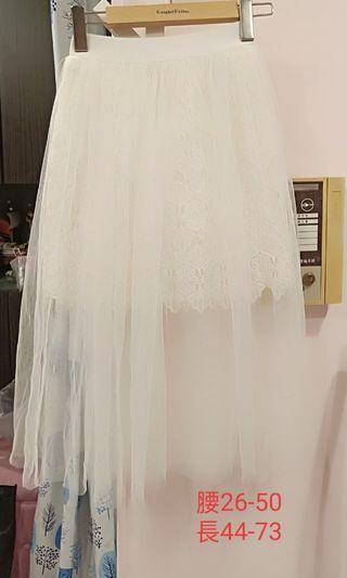 蕾絲提花網紗長裙