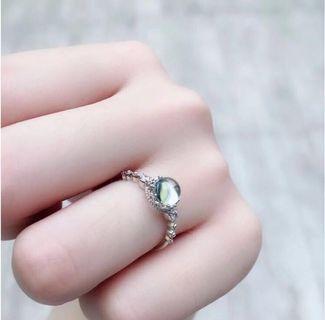 天然托帕石S925純銀鍍18k白金戒指