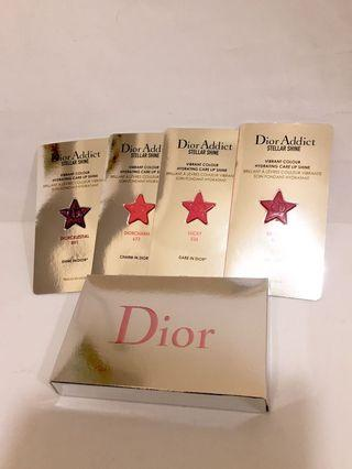 Dior Addict 4色保濕唇膏試用裝連唇掃, 全新, stellar shine vibrant colour hydrating care lip shine, col. Be Dior 976, lucky 536, Dior Charm 673, Dior celestial 891, exp. 1/2022, 存貨7盒