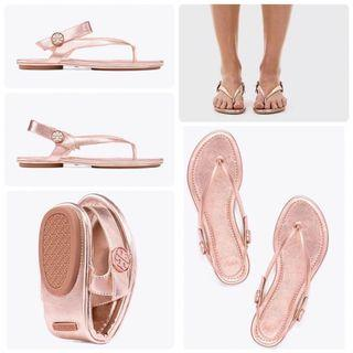 TORY BURCH MINNIE TRAVEL SANDAL METALLIC LEATHER ROSE GOLD US 7.5