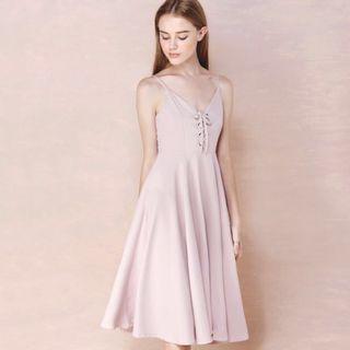 AWD Pink laced up midi dress