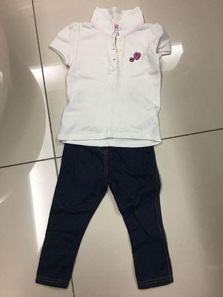 Mothercare girl's t-shirt and legging (12-18 months)
