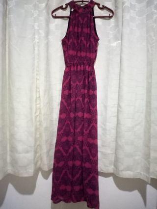 Long dress sifon ungu motif