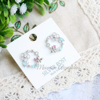 韓國藍石花圈耳環