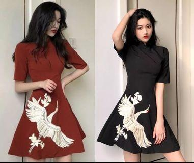 Short Sleeve Dress red and black