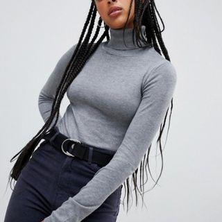 Pull&bear roll neck long sleeved jumper in grey