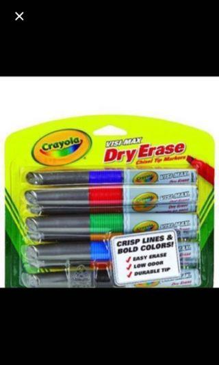 🚚 Ready Stock Crayola Visi-max Dry-Erase Markers 8count