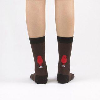 🚚 韓國 socks appeal® X SML 背後小怪物中桶襪(咖啡)