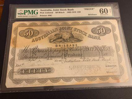 🚚 18th Century Brisbane Australian joint stock bank £50 note