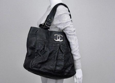 chanel black distressed leather le marais XL Tote bag (reprice ONLY TODAY)