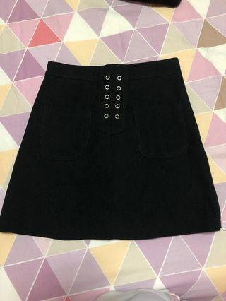 Black front tie Skirt