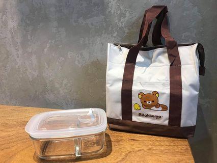 🚚 拉拉熊拉鍊保溫提袋+分隔玻璃保鮮 830ml  保鮮盒 分隔保鮮盒 長方 拉拉熊