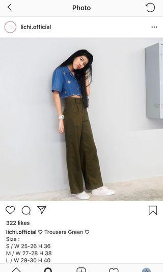 [3 for $20] Lichi green wide pants