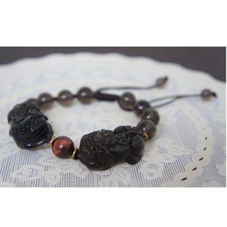 Obsidian Double Pixiu Bracelets (10mm)