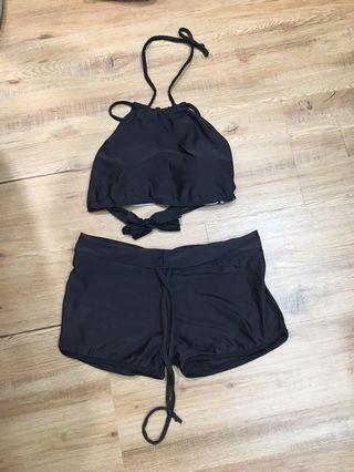 Black halter bikini swimwear set