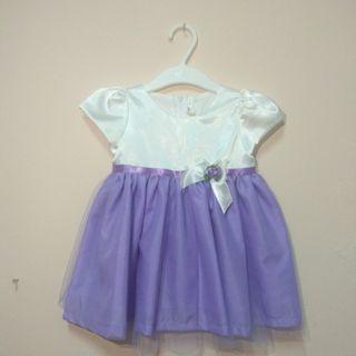 White Purple Flower Girl Dress