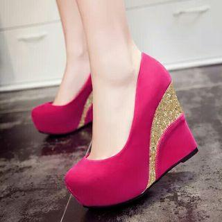 (NO INSTOCKS!)Preorder korean style peep toe high wedges shoes *waiting time 15 days after payment is made*chat to buy to order