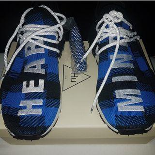 pharrell bbc adidas nmd blue plaid size 9.5us bnib