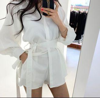 White Romper tops with pant plus belt