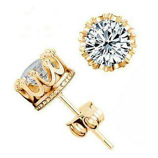 🚚 18K Gold Luxury Shiny Crystal Zircon Crown Earrings #10