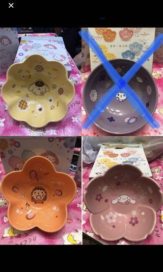7-11 花形陶瓷碗 共四款 可散賣 2號大口仔 4號玉桂狗 5號布丁狗布甸狗 10號Kuromi 每款只有一個 全新有盒 不交換
