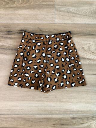 🚚 Zara 豹紋 叢林 狩獵 帥氣高腰時髦動物紋短褲 🐆