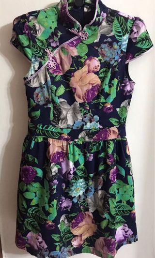🚚 Purple Floral Cheongsam Dress