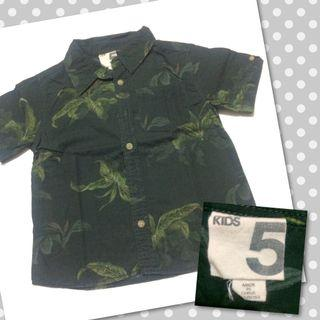 Cotton On Kids leaf shirt 5y kemeja anak lengan pendek