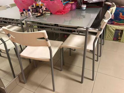 Ikea Glass Dining Table with Chairs