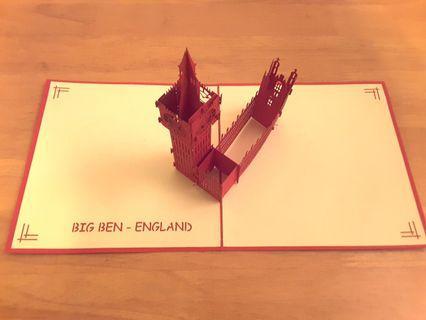 英國 大笨鍾 England Big Ben 3D Pop Up Card 卡 咭 全新