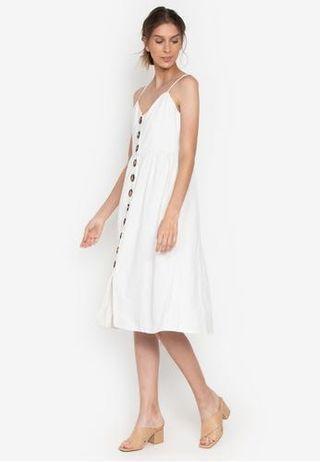 white button down midi dress